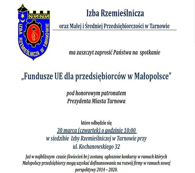 """""""Fundusze UE dla przedsiębiorców w Małopolsce"""""""